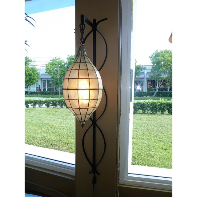 Mid Century Moderm Capiz Shell and Wrough Iron Sconce Wall Light, N1960s For Sale - Image 10 of 13