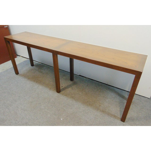 Mid century modern Parsons style Console table, made of oak, book matched grained top, 6 square legs