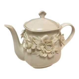 Vintage I. Godinger & Co. Porcelain Teapot With Floral Detail For Sale
