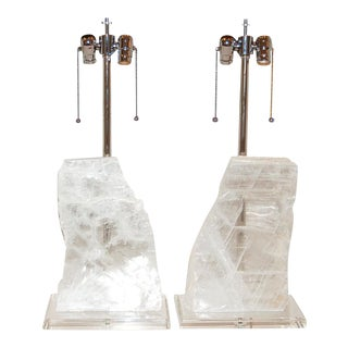 Selenite Stone Table Lamps by Swank Lighting For Sale
