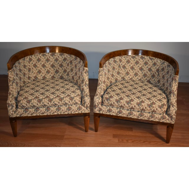 1950s Biedermeier Style Burl Fruit Wood Fireplace Chairs - a Pair For Sale - Image 13 of 13