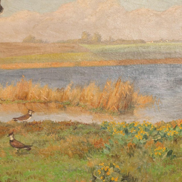 """Early 20th Century Original Antique """"Shore Birds in a Marsh"""" Landscape Painting Signed C. Hoyrup For Sale - Image 5 of 10"""