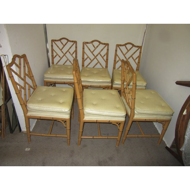 Textile Hollywood Regency Style Faux Bamboo Chairs in Original Natural Finish - Set of 6 For Sale - Image 7 of 9