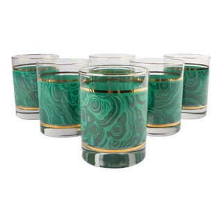 Set of 6 Nieman Marcus Malachite Glasses For Sale