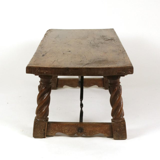 Italian Italian Walnut Low Table with Carved Barley Twist Legs and Twisted Iron Cross Stretchers, Circa 1800 For Sale - Image 3 of 13