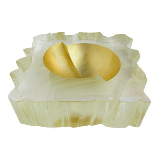 Large Contemporary Gold Art Glass Bowl For Sale