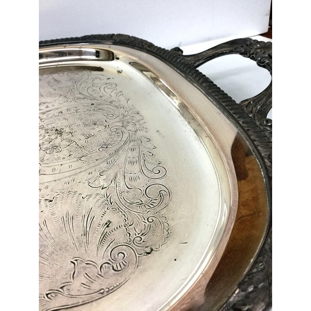 Metal 1940s Art Deco F B Rogers Silver Plate Serving Tray For Sale - Image 7 of 12