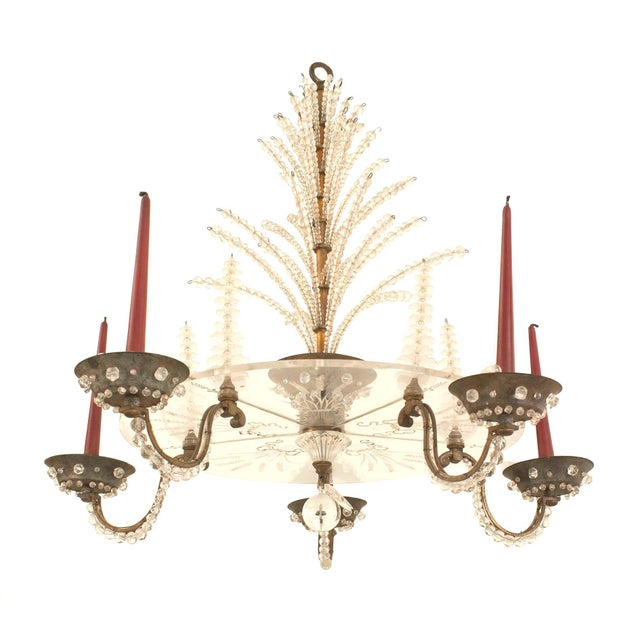 Bronze French 1940s Oxidize Bronze Chandelier For Sale - Image 7 of 7