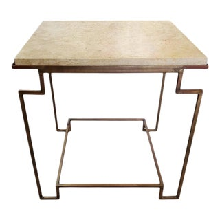 Art Deco Style Side Table With Gilt Metal Base and Marble Top For Sale
