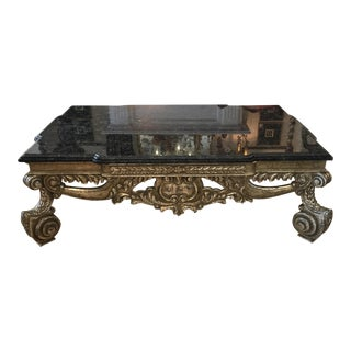 William Switzer - Venetian Carved White Gold Coffee Cocktail Table W Double Granite Top
