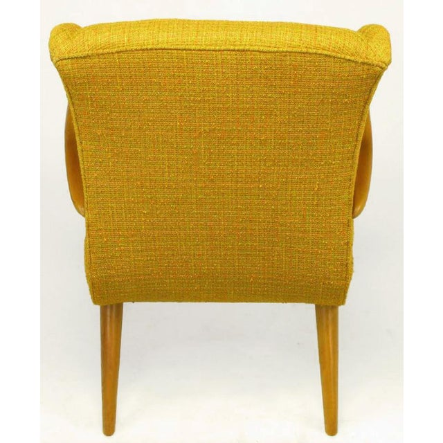 Circa 1940s Maple Wood & Saffron Upholstered Lounge Chair For Sale In Chicago - Image 6 of 10