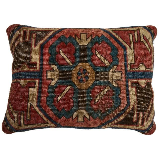 Blue Antique Kazak Carpet Pillow For Sale - Image 8 of 8