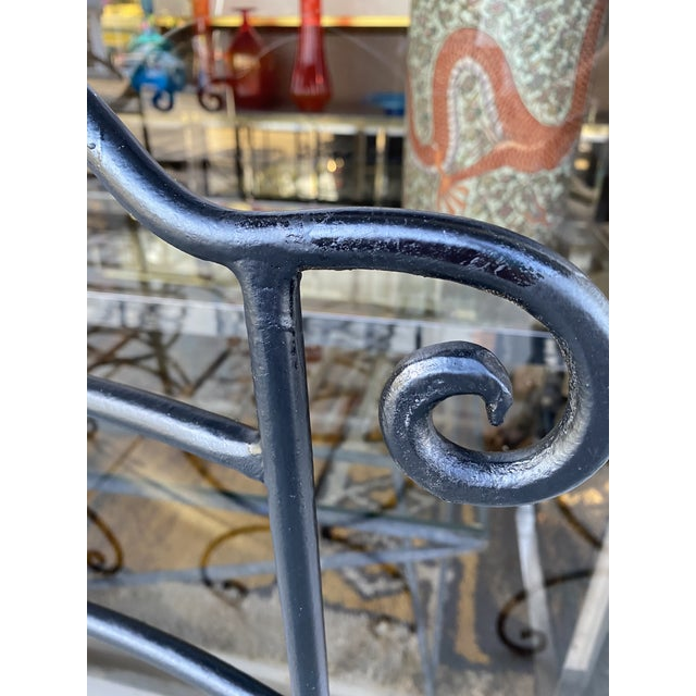 Wrought Iron Asian Inspired Set of 6 Patio Chairs For Sale - Image 11 of 13