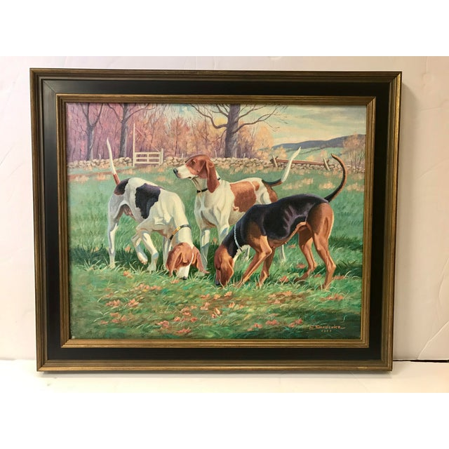 Green Three English Fox Hound Dogs Fox Hunt Oil Painting For Sale - Image 8 of 8