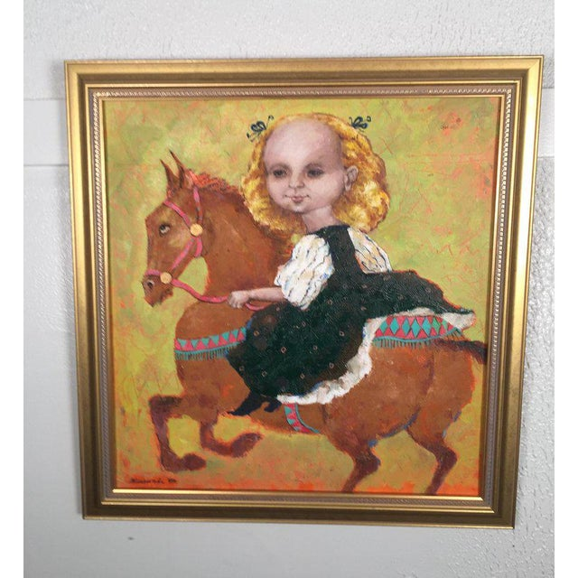 1990s Vintage Russian Whimsical Paintings by Elena Kallistova- A Pair For Sale In Philadelphia - Image 6 of 13
