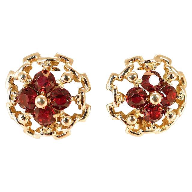 Reja Gilded Sterling Ruby Crystal Earrings, 1940s For Sale