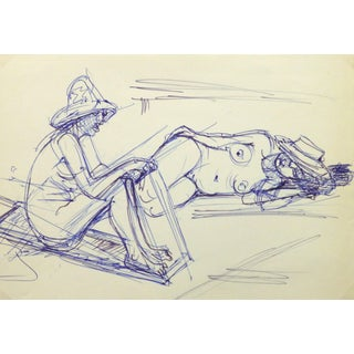 Irmgard Von Reppert, Ink Drawing - Sun Bathers For Sale