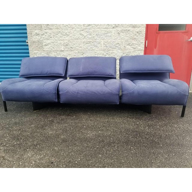 1970s Vintage Mid Century Modern Vico Magistretti for Cassina Blue Three Seat Veranda Sofa- 3 Pieces For Sale - Image 5 of 11