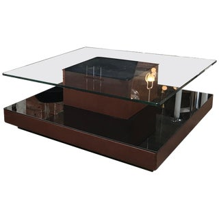 Osvaldo Borsani Square Coffee Table in Leather and Mirror, Italy, 1970s For Sale