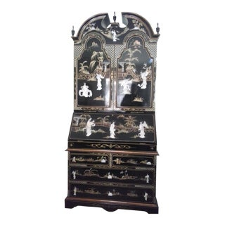 Asian Black Lacquer Carved Mother of Pearl Tall Secretary Desk
