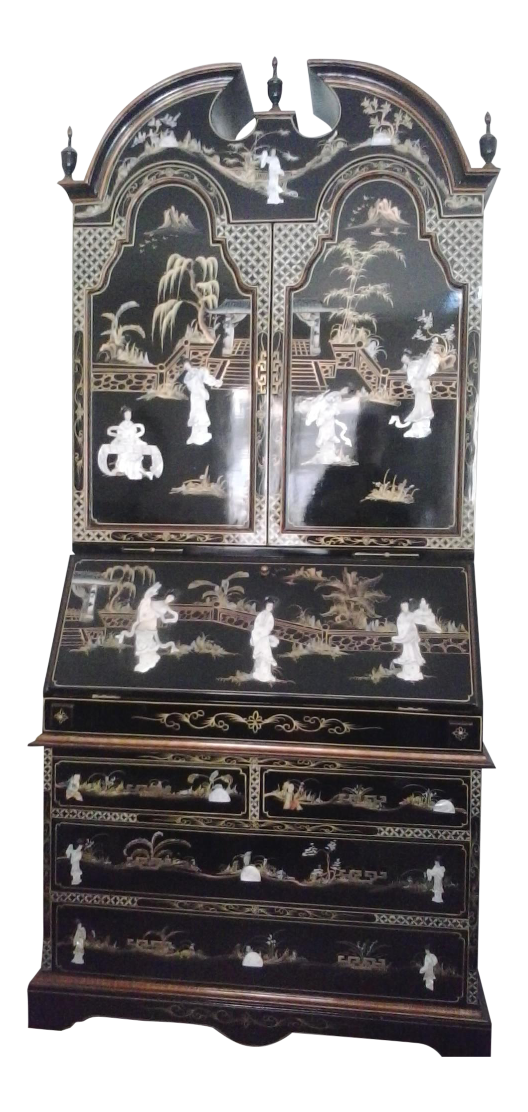 Elegant Asian Black Lacquer Carved Mother Of Pearl Tall Secretary Desk   Image 1 Of  8