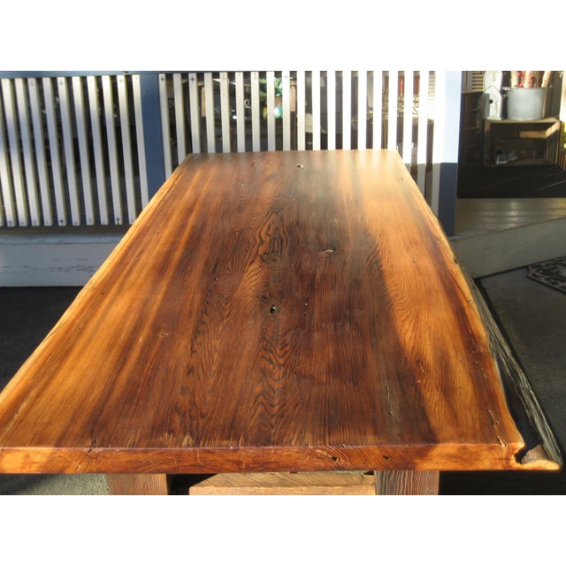 Hand Crafted Live Edge Red Cedar Slab Table For Sale - Image 6 of 10