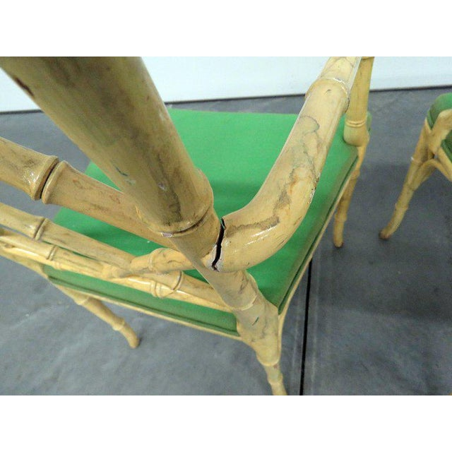 Faux Bamboo Pair of Faux Bamboo Armchairs For Sale - Image 7 of 9