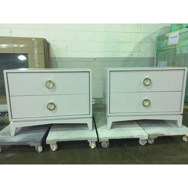Wood Mid-Century Modern Light Gray Walnut Nightstands - a Pair For Sale - Image 7 of 7