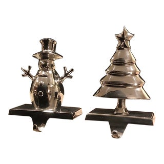 Vintage Christmas Tree and Snowman Stocking Hangers Silver Hooks - Set of 2 For Sale