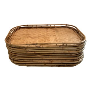 Vintage 1960s Woven Bamboo Trays - Set of 11 For Sale