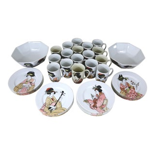 Vintage 1970s Fitz and Floyd Porcelain Geisha Dishes - 35 Pc. For Sale