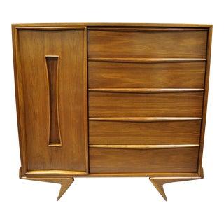 1960s Mid Century Modern Sculptural Walnut Chest Dresser For Sale
