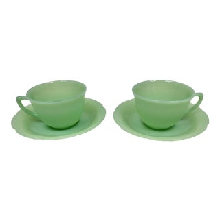 Mid-Century Jadeite Fire King Cup and Saucer - a Pair For Sale