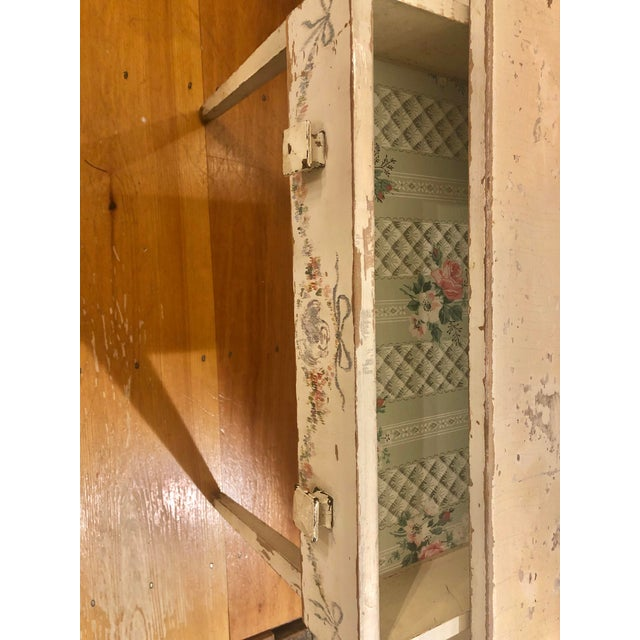 Antique Shabby Chic Hand Painted Floral Writing Desk For Sale - Image 4 of 11