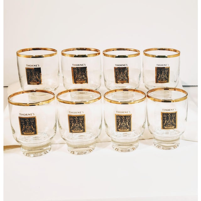 Gold 1960's Gold Rimmed Thorne Scotch Lowball Glass For Sale - Image 8 of 10