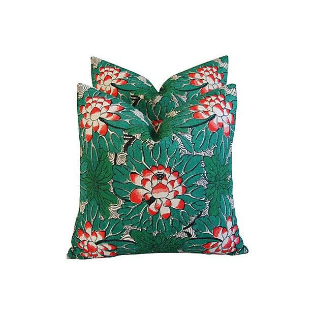 Custom Chinese Lotus Blossom Linen Pillows - Pair - Image 4 of 6