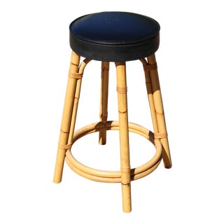 Vintage Rattan and Vinyl Stool For Sale
