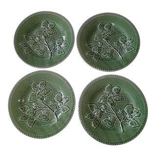20th Century Cottage Portuguese Green Porcelain Plates - Set of 4