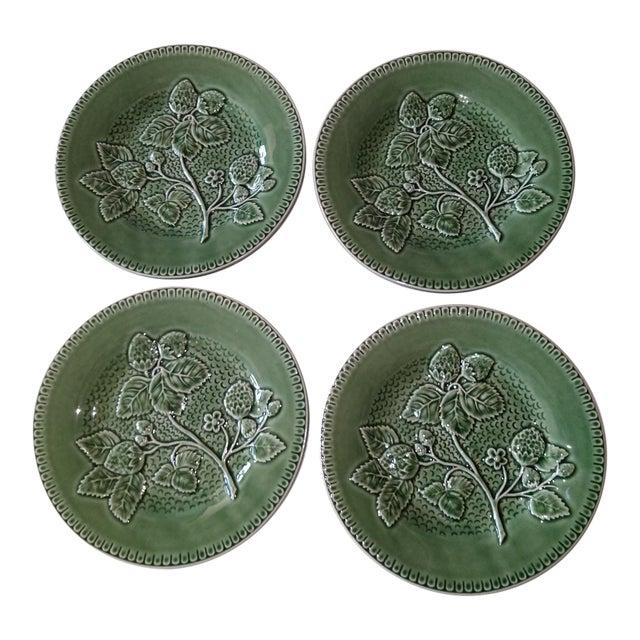 20th Century Cottage Portuguese Green Porcelain Plates - Set of 4 For Sale