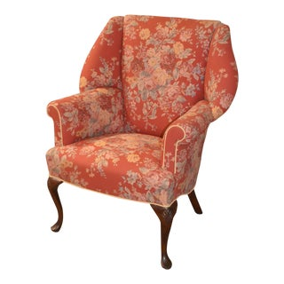 Vintage Traditional Style Shaped Floral Upholstered Wing Chair