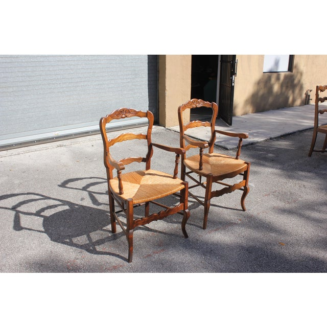 Early 20th Century French Country Rush Seat Solid Walnut Berger Chairs- a Pair For Sale - Image 4 of 13