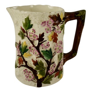 English Staffordshire Dogwood Flower on Bark Pitcher