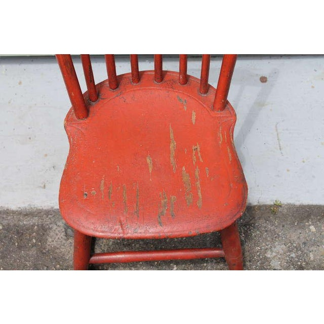 Red 19th Century Original Salmon Painted Windsor Rocking Chair For Sale - Image 8 of 8