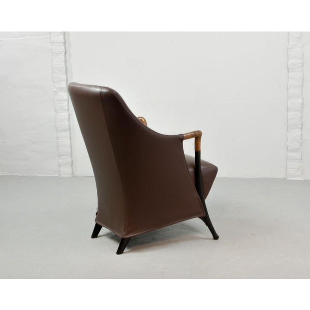 1980s Mid-Century Modern Italian Design Seal Brown Leather Lounge Chair 'Progetti' by Giorgetti, 1980s For Sale - Image 5 of 13