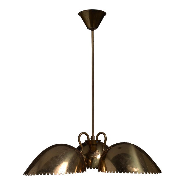 Bertil Brisborg Brass Pendant with Three Shades, Bohlmarks, Sweden, 1940s For Sale