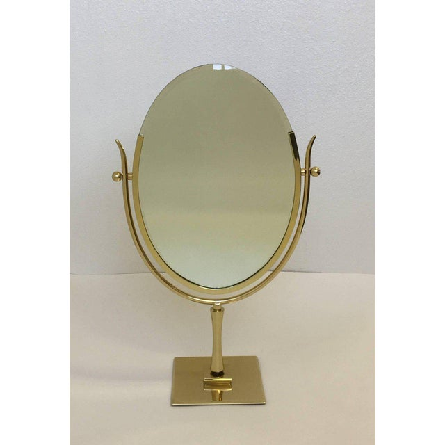 1970s Polish Brass and Leather Vanity Mirror by Charles Hollis Jones For Sale - Image 5 of 11