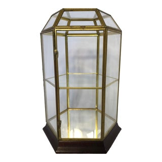 Mid Century Brass and Glass Display Case Curio With Hinged Door For Sale