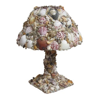 Grotto Style Sea Shell Lamp With Seashell Shade For Sale