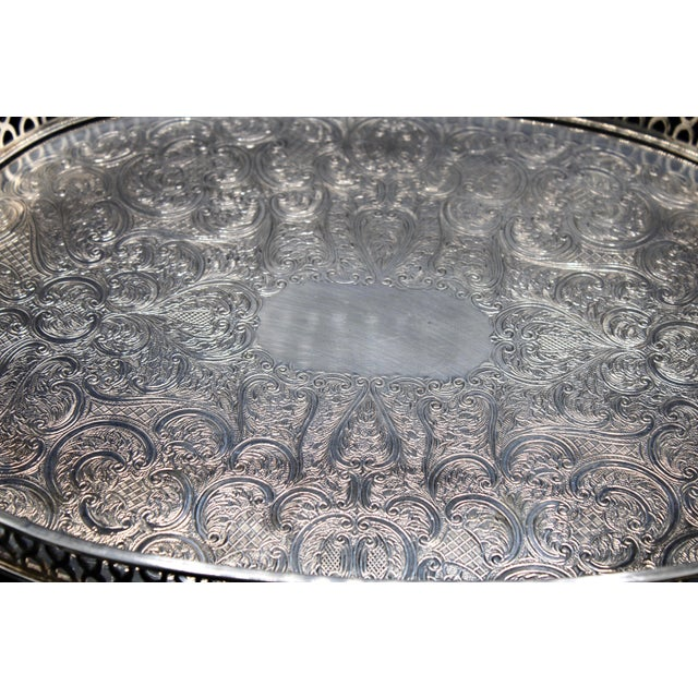 Art Deco English Silver Plate Handled Tray With Gallery For Sale - Image 4 of 13