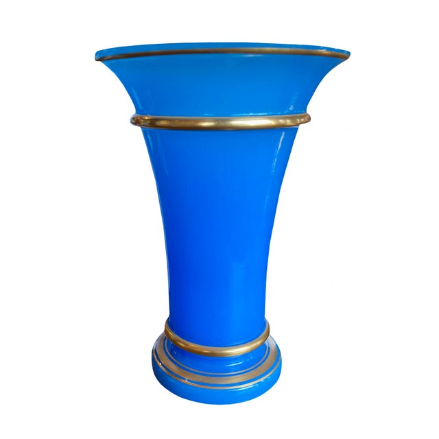French Blue Opaline Vase For Sale - Image 4 of 4